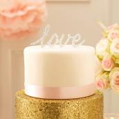 Cake topper Love paillettes argent