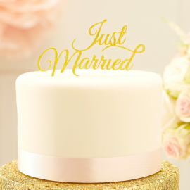 Cake topper just married paillettes or