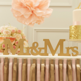 Lettres Mr & Mrs dorées so chic
