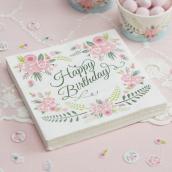 Serviettes Happy Birthday fleurs trendy - Lot de 20