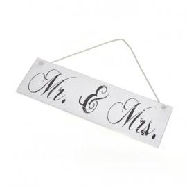 Pancarte patinée Mr & Mrs