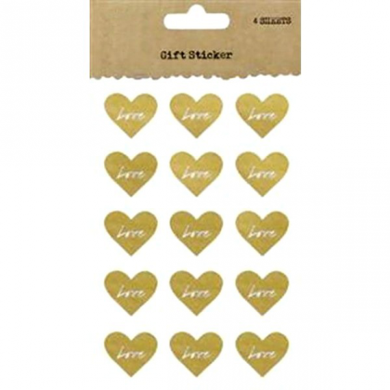 Stickers coeur kraft Love white - Lot de 60
