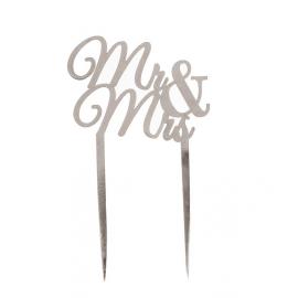 Cake topper Mr & Mrs métal