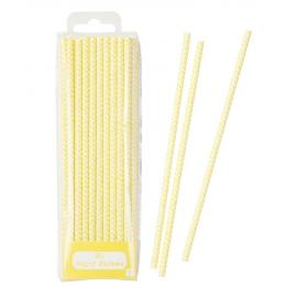 Pailles papier chevron jaunes - Lot de 30