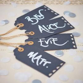 Etiquettes marque-place dentelle rétro black - Lot de 10
