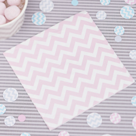 Serviettes cocktail chevrons rose - Lot de 20