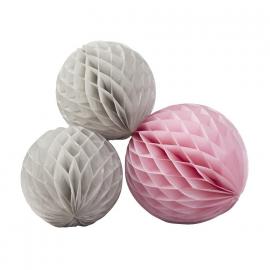 Boules papier trio gris et rose