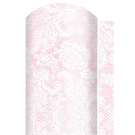 Chemin de table papier dentelle rose - 6 m