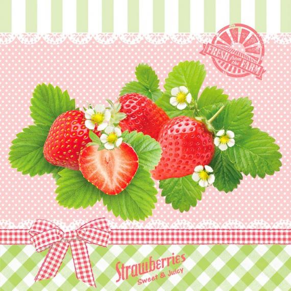 Serviettes papier jolies strawberries - Lot de 20