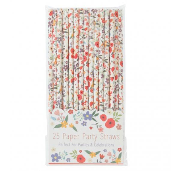 Pailles papier Happy flowers - Lot de 25