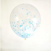 Ballons confettis mix bleu - Lot de 6
