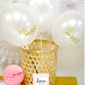 Ballons Mr & Mrs et all white - Lot de 6