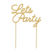 Cake topper party gold glitter