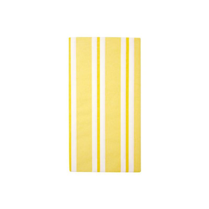 Decoration table nappe papier fairy rayures jaunes for Nappe et chemin de table en papier