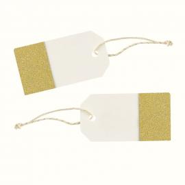 Etiquettes marque-place blanc cassé paillettes or - Lot de 10
