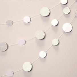Guirlande de confettis glam blanc et argent