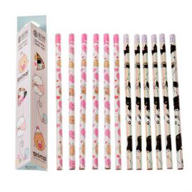 Crayons papier Kawaï animal duo - Lot de 12