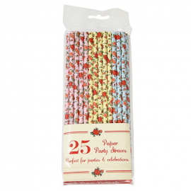 Pailles papier color roses - Lot de 25