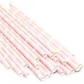 Pailles papier rose étoiles blanches - Lot de 24