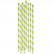 Pailles papier rayures vert granny - Lot de 20
