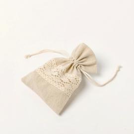 Pochons coton ficelle et dentelle - Lot de 5