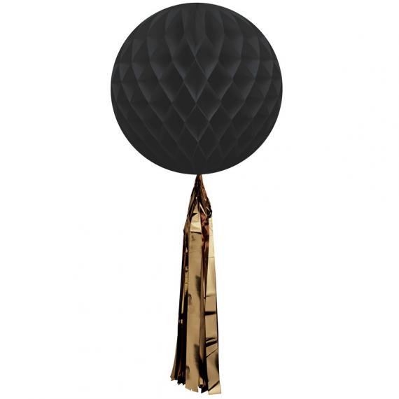Boule papier alvéolée noire tassel or