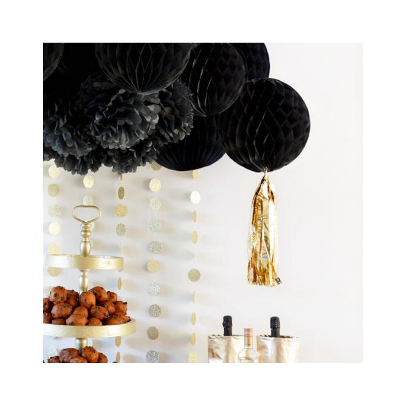 Decoration de salle boule papier alv ol e noire tassel or for Boule de papier deco