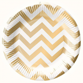 Assiettes chevrons or