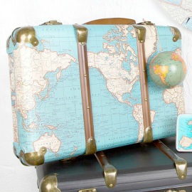 Valise carte du monde vintage
