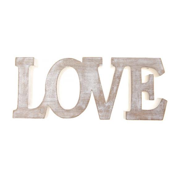 Grand mot Love bois patiné