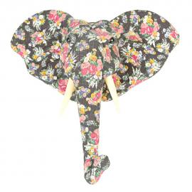 Trophée éléphant tissu floral