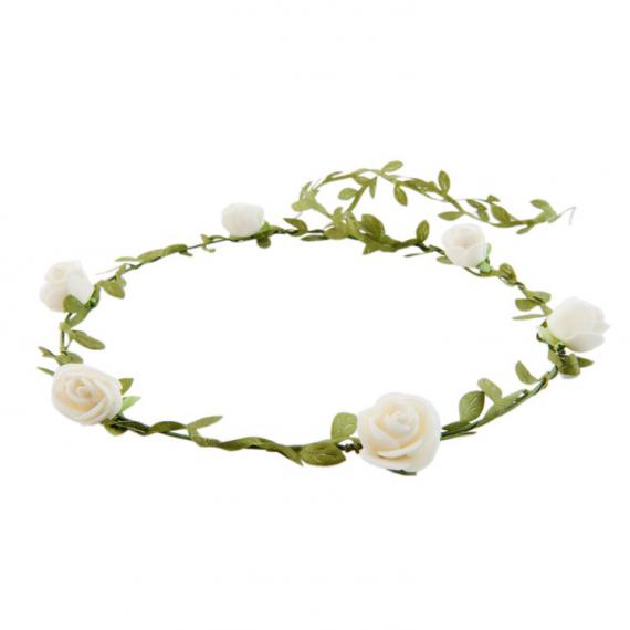 Couronne feuillage et fleurettes blanches