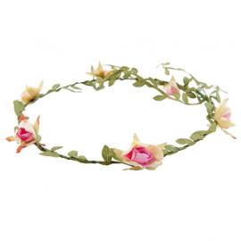 Couronne feuillage et fleurettes pastel