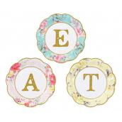 Assiettes gâteaux lettres et fleurs vintage