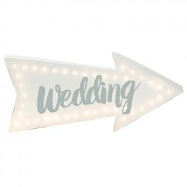Pancarte lumineuse flèche mariage