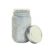 Pot bocal style Mason jar paillettes argent