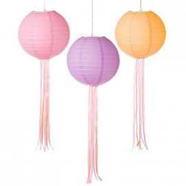 Lanternes papier trendy pastel et rubans - Lot 3