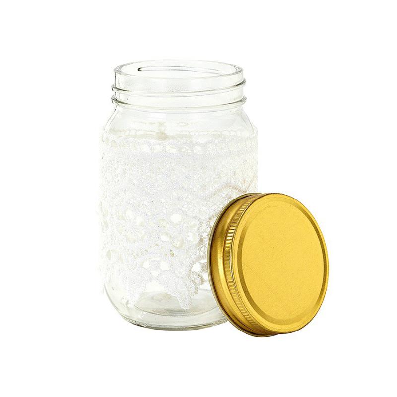 d coration de table pot bocal style mason jar dentelle. Black Bedroom Furniture Sets. Home Design Ideas