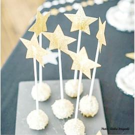 Cake topper étoiles paillettes or