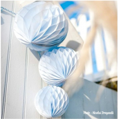 Boules trio papier alvéolé ciel - Lot de 3