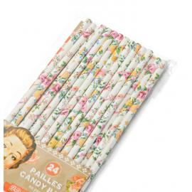 Pailles papier roses d'été - Lot de 24