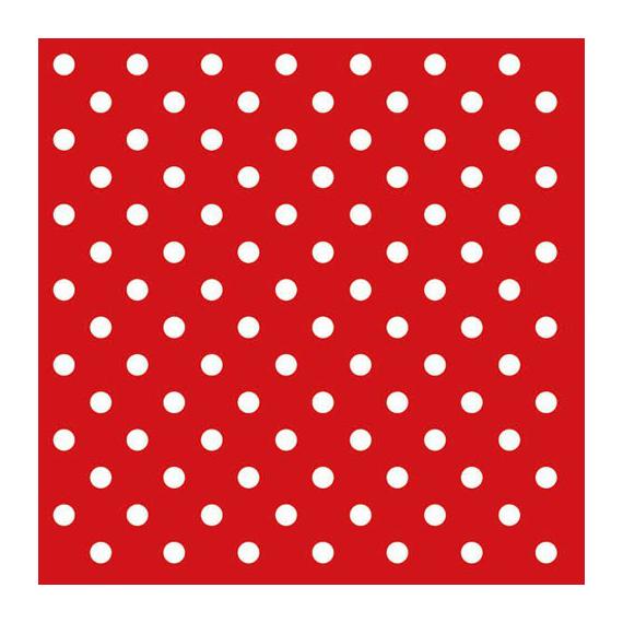 Serviettes papier rouge pois blancs - Lot de 20