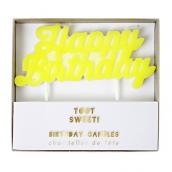 Bougie Happy birthday jaune fluo