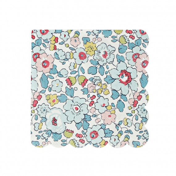 Serviettes cocktail liberty blue betsy - Lot de 20