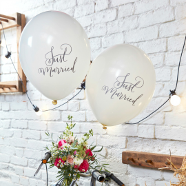 Ballons Calligraphie Just married - Lot de 10