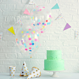 Ballons confettis party trendy - Lot de 5