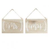 Pancartes bois patiné calligraphie Mr & Mrs
