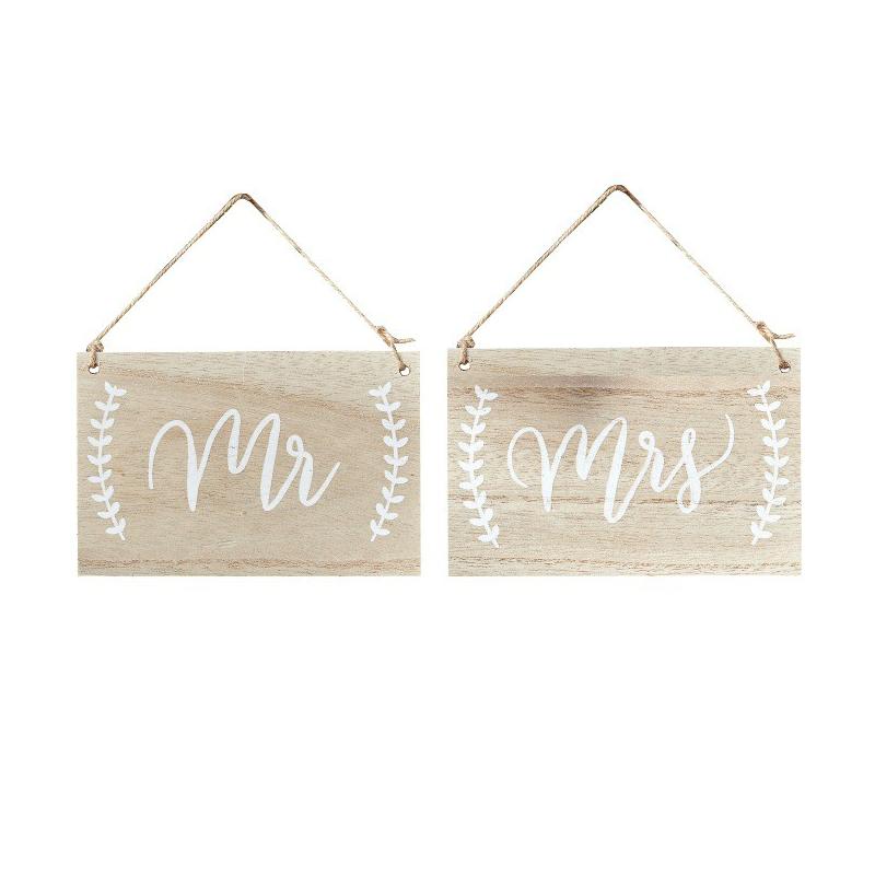 Pancartes de réception > Pancartes bois patiné calligraphie Mr & Mrs
