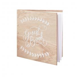 Livre d'or bois patiné calligraphie