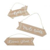 Pancartes flèches bois patiné - Lot de 3